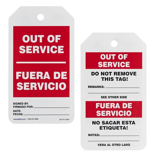 Bilingual Lockout/Tagout Tag - Out of Service (02215)