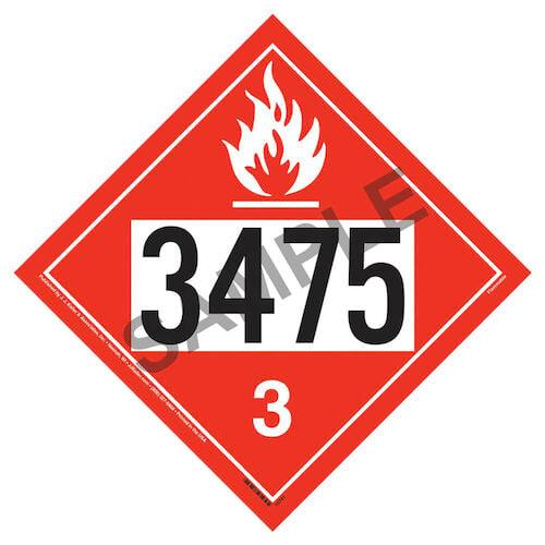 3475 Placard - Class 3 Flammable Liquid (02292)