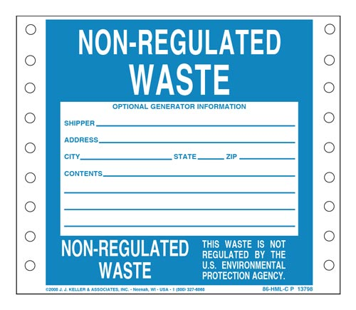 Non-Regulated Waste Label - Paper, Continuous Format (00125)
