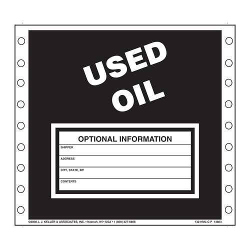 Used Oil Waste Labels (00487)
