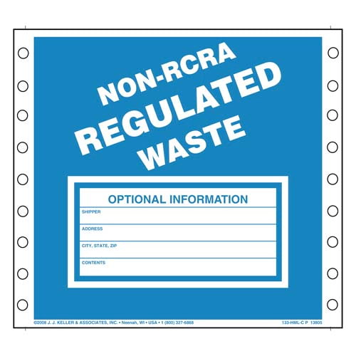 Non-RCRA Regulated Waste Labels (00248)