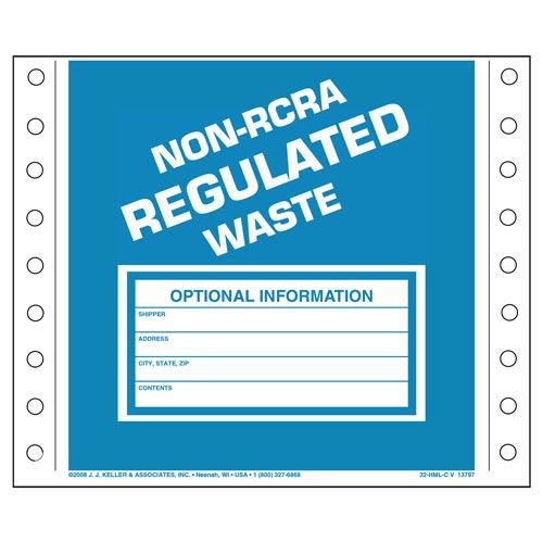 Non-RCRA Regulated Waste Labels - Vinyl (00249)
