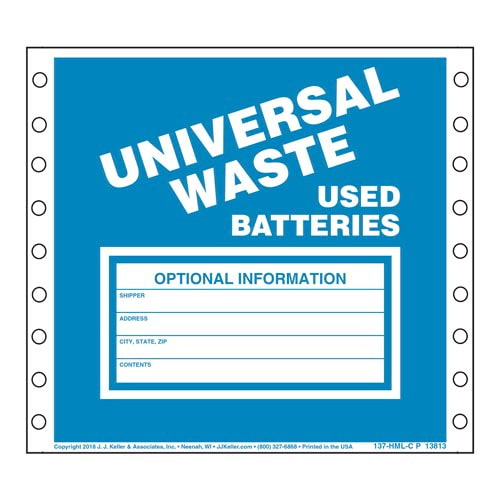 Universal Waste: Used Batteries Labels (00476)