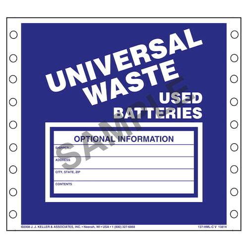 Universal Waste Labels, Used Batteries - Vinyl (00478)