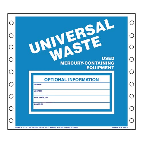 Universal Waste Labels, Used Mercury-Containing Equipment - Paper (00480)