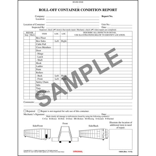 Roll-off Container Condition Report, Book Format - Stock (00323)