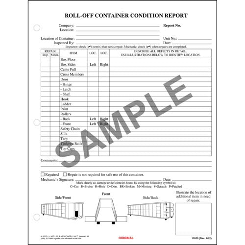 Roll-off Container Condition Report, Snap-Out Format - Stock (00325)