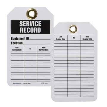 Safety Tag - Plastic - Service Record (00187)