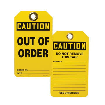 Safety Tag - Plastic - CAUTION Out of Order (00170)
