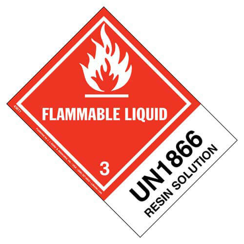 Numbered Panel Proper Shipping Name Labels - Class 3, Flammable Liquid - Resin Solution UN 1866 (00114)
