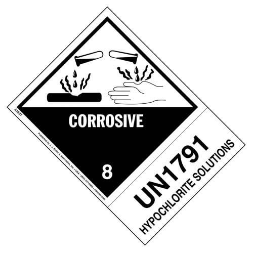 Numbered Panel Proper Shipping Name Labels - Class 8 - Corrosive, UN 1791, Hypochlorite Solution (00258)