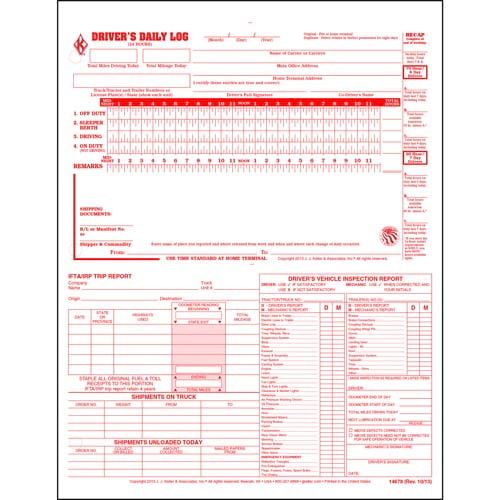 5-In-1 Driver's Daily Log, 2-Ply, Carbonless, Loose-Leaf Format - Personalized (01354)