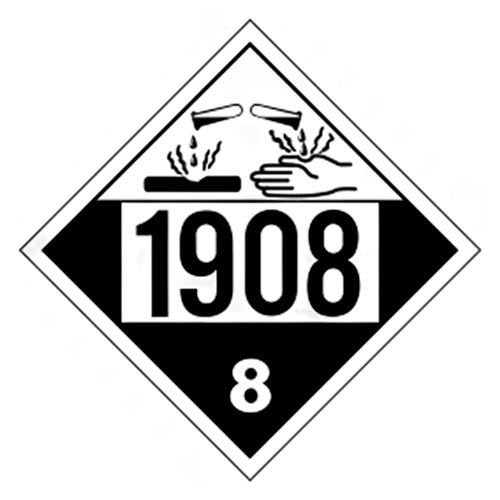 1908 Placard - Class 8 Corrosive (02201)