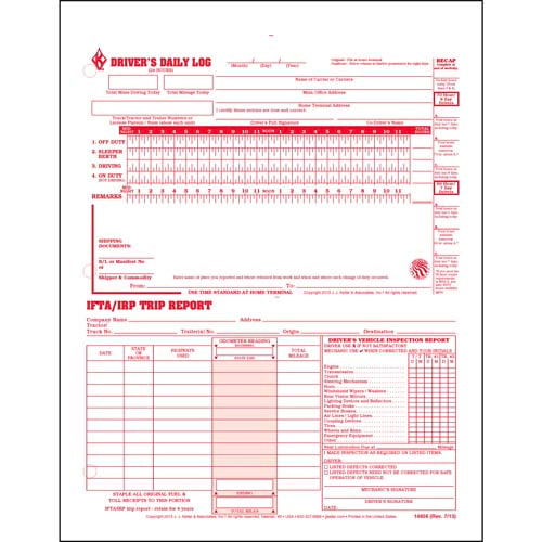 3-In-1 Driver's Daily Log, 3-Ply, Carbonless, Loose-Leaf Format - Personalized (01177)