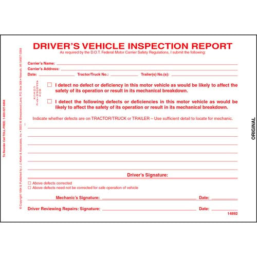 Simplified Driver's Vehicle Inspection Report, 3-Ply, Carbonless, Snap-Out Format - Personalized (05563)