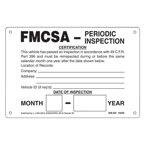 Intermodal Annual Vehicle Inspection Plate (02689)