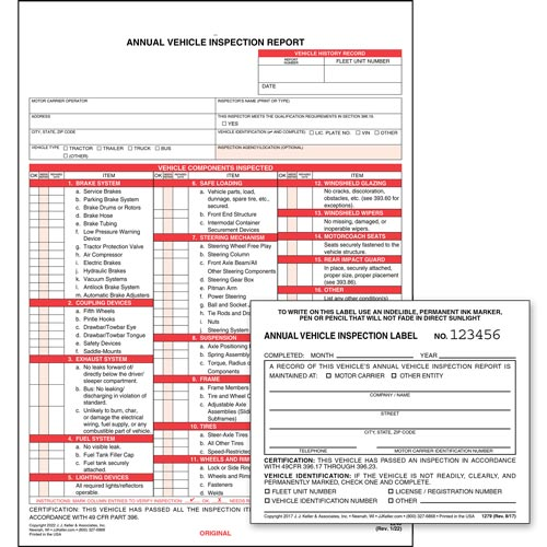 Annual Vehicle Inspection Report (Carbonless) + Label - Retail Packaging (07048)