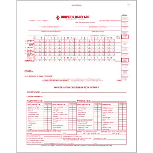 Oil Field Log w/Daily Recap & DVIR, 2-Ply, Carbonless, Book Format - Stock (01128)