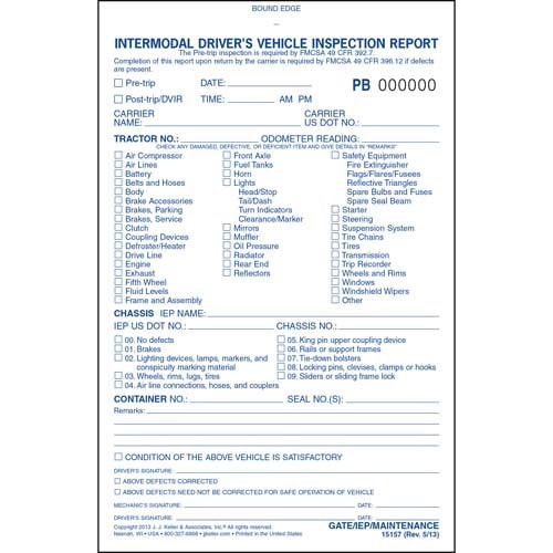 Intermodal Driver's Vehicle Inspection Report - Pre-Trip, Book Format - Stock (01453)
