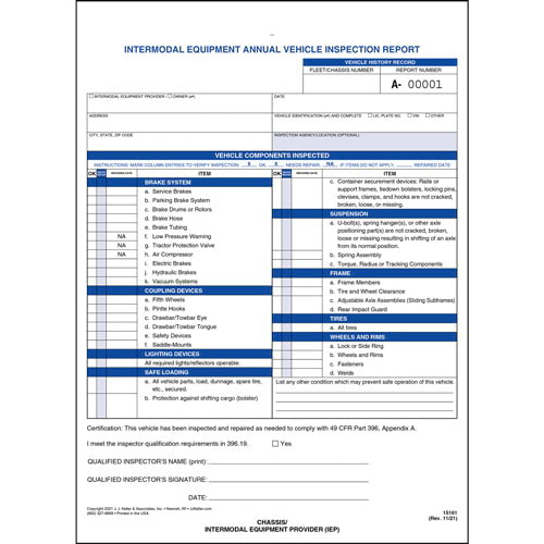 Intermodal Annual Vehicle Inspection Report (02688)