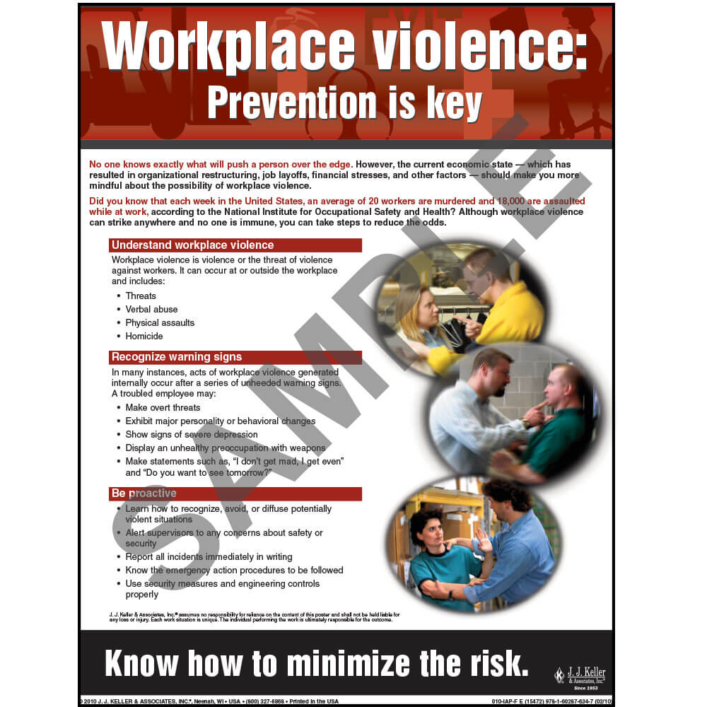 "Workplace Violence - Workplace Safety Advisor Poster - ""Workplace Violence: Prevention is key"" (03842)"