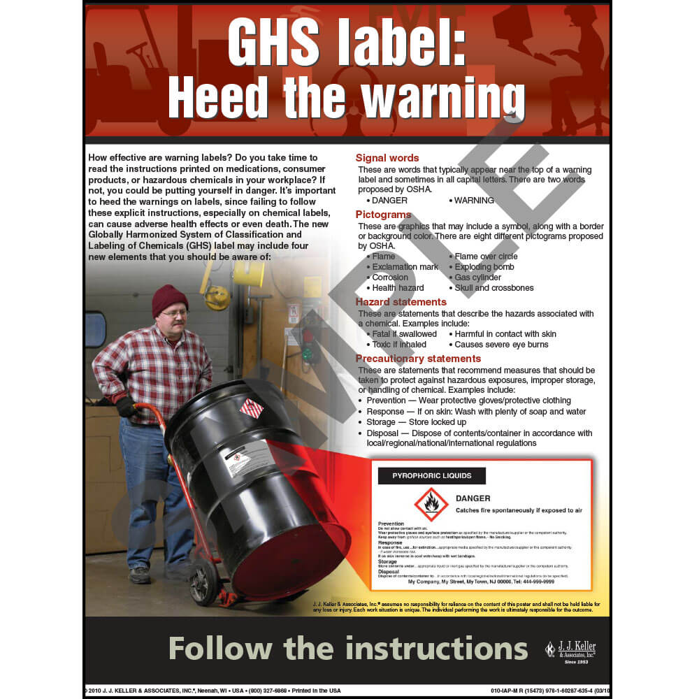 "GHS - Workplace Safety Advisor Poster - ""GHS Label: Heed the Warning"" (03843)"