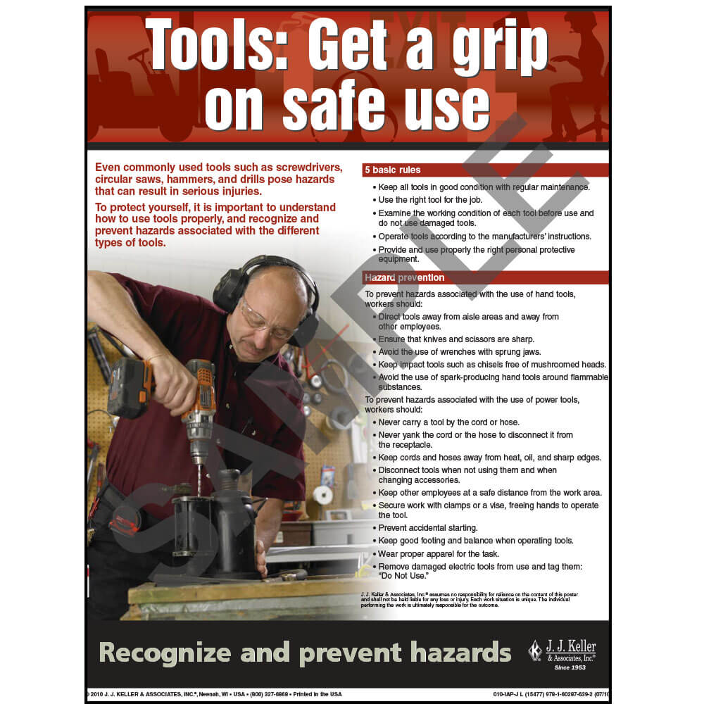 "Tool Safety - Workplace Safety Advisor Poster - ""Tools: Get a grip on safe use"" (03847)"