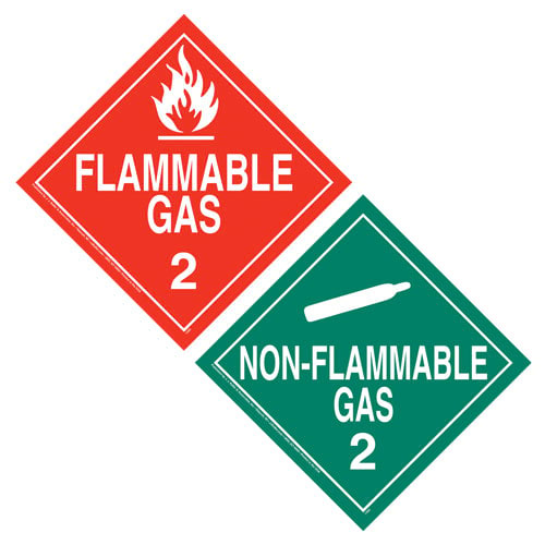 Division 2.2 Non-Flammable Gas, Division 2.1 Flammable Gas Placard - Worded (03464)