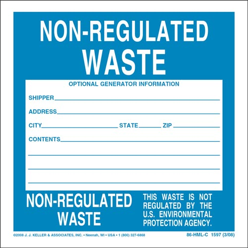 Non-Regulated Waste Labels (00126)