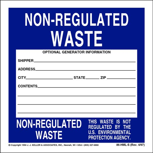 Non-Regulated Waste Label - Vinyl, Individual Sheets (00127)