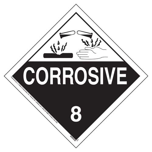 Class 8 Corrosive Placard - Worded (02427)