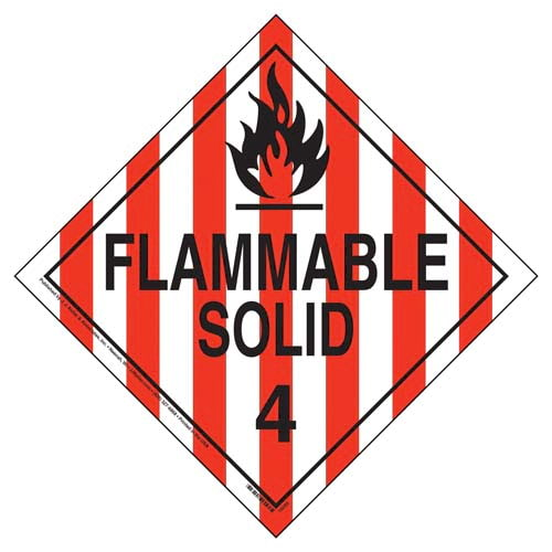 Division 4.1 Flammable Solid, Division 4.2 Spontaneously Combustible Placard - Worded (03482)