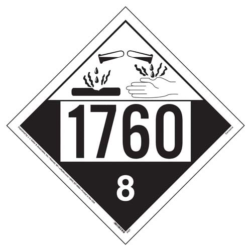 1760 Placard - Class 8 Corrosive (02519)