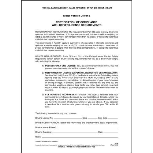 Driver's Certification of Compliance, 2-Ply (00129)