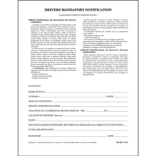 Driver's Mandatory Notification - Padded Format (00133)