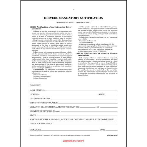 Driver's Mandatory Notification - Snap-Out Format (00134)