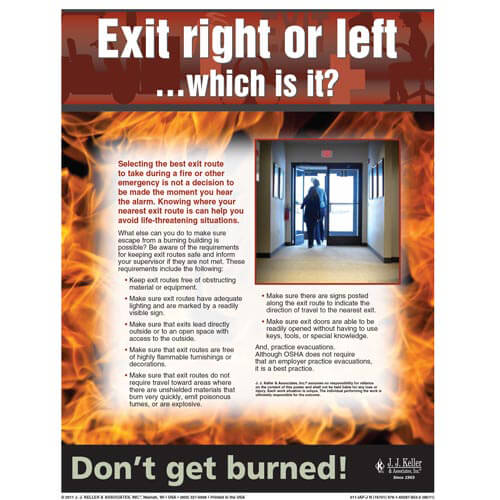 "Fire Safety - Workplace Safety Advisor Poster - ""Exit right or left... which is it?"" (04849)"