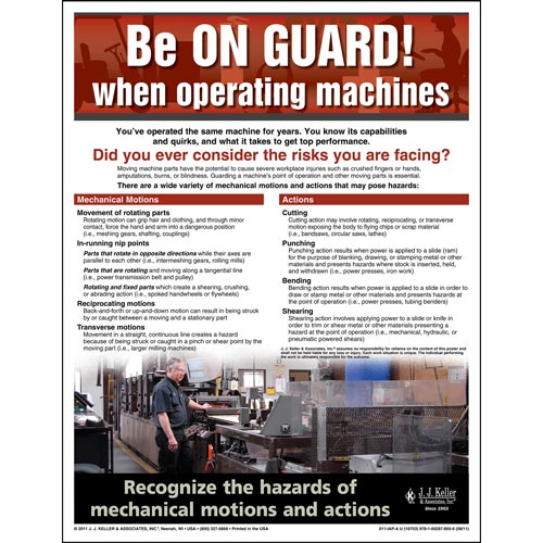 "Machine Guarding - Workplace Safety Advisor Poster - ""Be On Guard"" (04851)"