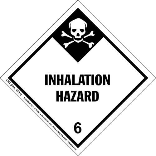 Hazardous Materials Labels - Class 6, Division 6.1 -- Packing Groups I and II -- Inhalation Hazard - Paper, Sheet (00140)