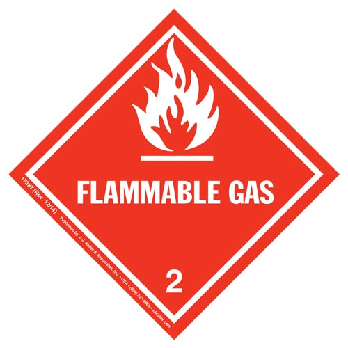 Hazardous Materials Labels - Class 2, Division 2.1 -- Flammable Gas, Poly (05255)