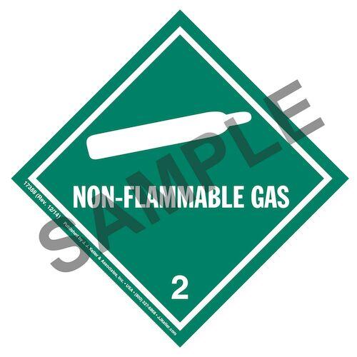Hazardous Materials Labels - Class 2, Division 2.2 -- Non-Flammable Gas - Poly (05256)