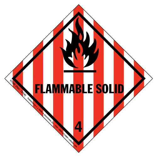Hazardous Materials Labels - Class 4, Division 4.1 -- Flammable Solid - Poly (05258)