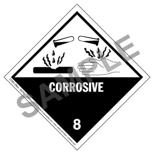 Hazardous Materials Labels - Class 8 -- Corrosive - Poly (05259)