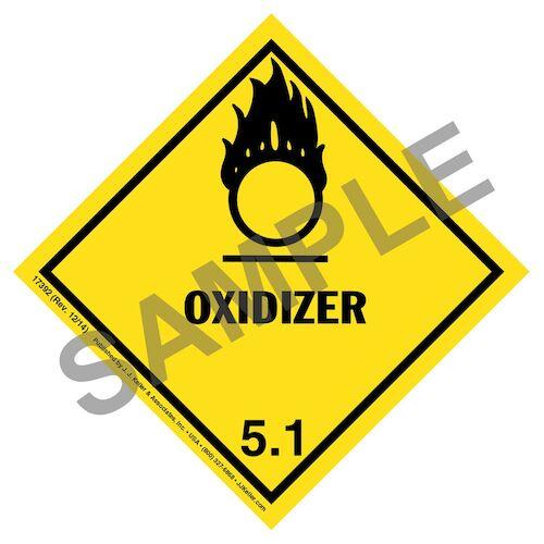 Hazardous Materials Labels - Class 5, Division 5.1 -- Oxidizer - Poly (05260)