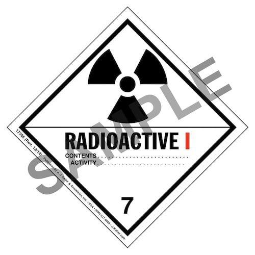 Hazardous Materials Labels - Class 7 -- Radioactive I - Poly (05264)