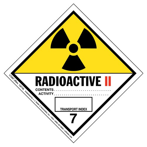 Hazardous Materials Labels - Class 7 -- Radioactive II - Poly (05265)