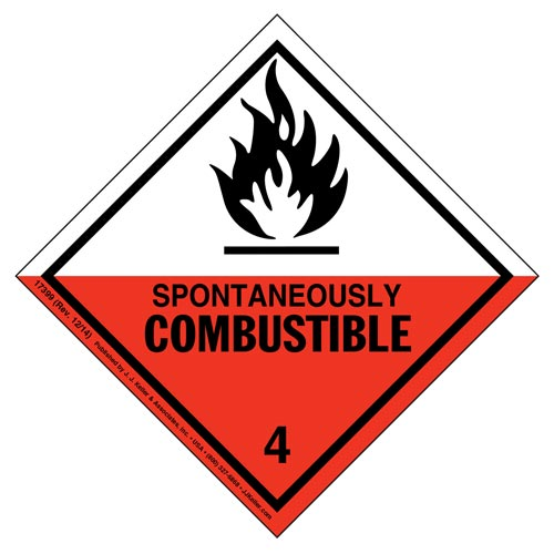Hazardous Materials Labels - Class 4, Division 4.2 -- Spontaneously Combustible - Poly (05267)