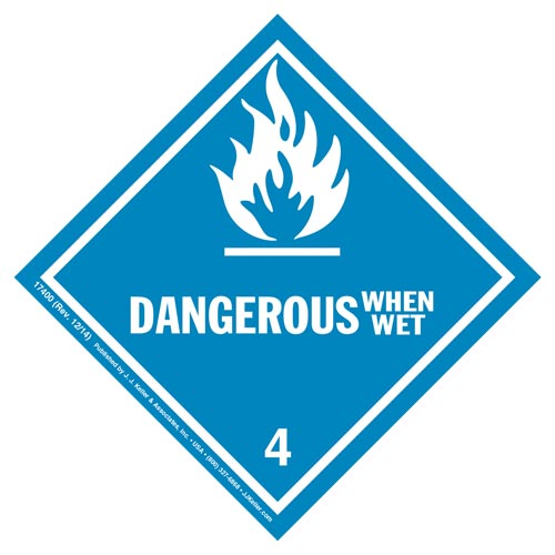 Hazardous Materials Labels - Class 4, Division 4.3 -- Dangerous When Wet - Poly (05268)