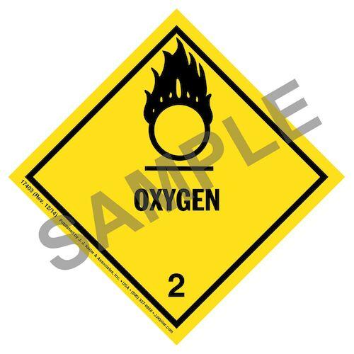 Hazardous Materials Labels - Class 2, Division 2.2 -- Oxygen - Poly (05271)