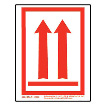 This End Up - Orientation Arrows Package Marking - Poly, Red Ink, Roll of 500 (05272)